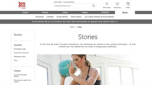 """image bonprix propose """"stories"""" pour conseiller ses clients"""