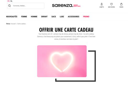 image de carte cadeau sur Sarenza.be