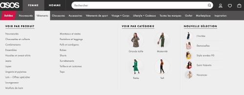 image des catégories sur ASOS