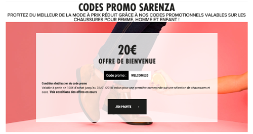 image du code promo sarenza 20€offerts