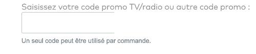 image du champ code promo sur vistaprint belgique
