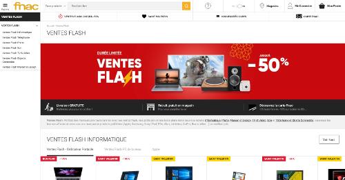 image de la page vente flash de la Fnac Belgique