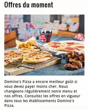 image des offres du moment dominos belgique