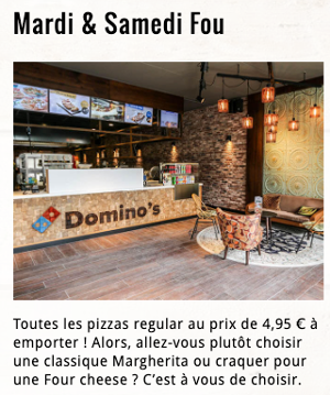 image des offres de mardi et samedi chez Dominos Belgique