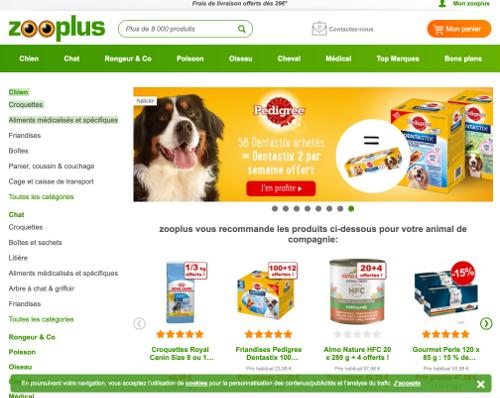 image de la page d'accueil zooplus.Be