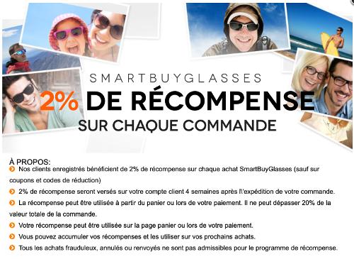 2% de remise sur vos commandes chez Smartbuyglasses.be