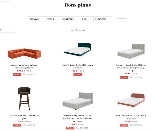 """image du rayon """"bons plans"""" sur Made.com"""
