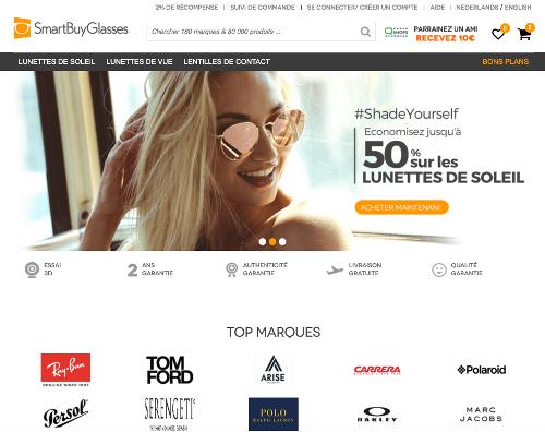 des lunettes à -50% sur Smartbuyglasses.be